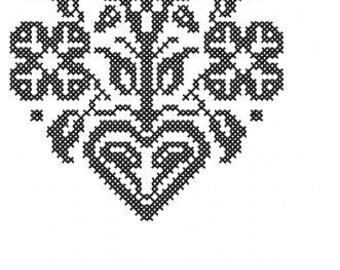 Kreuzstich Blumen mit Herz Stickdatei Direkter Download
