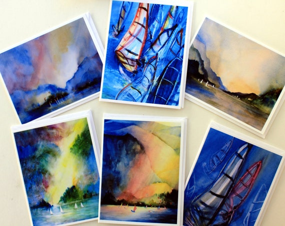 Gorge Sailing - note cards - card packs - 6-assorted cards - windsurfing art - kiteboarding art - Columbia River Gorge - Bonnie White