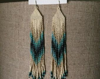turquoise pattern seed bead fringe earrings