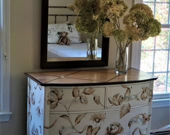 Painted furniture/Hand Painted Furniture/Painted Dresser/ Hand Painted Dresser/ White Dresser/Tone on Tone Dresser