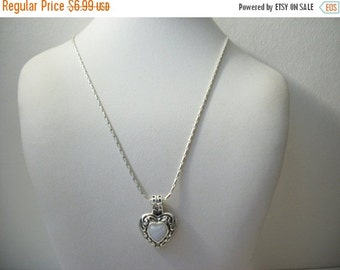 ON SALE Vintage Silver Tone Signed Roman Heart Pendant Necklace  1280
