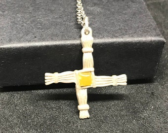 Vintage European Sterling Silver and Citrine St Brigid's Cross MARKED