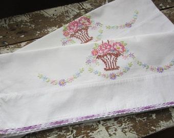 Pillow Cases Canon Pillow cases Embroidered Pillow case Purple Bedroom Cotton Pillowcases Vintage Pillowcase Bedding Set of 2 Purple