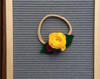 girl rose flower headband, rose hair accessory, baby girl headband, nylon headband, felt flowers