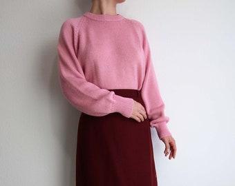 VINTAGE Pink Sweater 1980s Knit Womens Medium Large