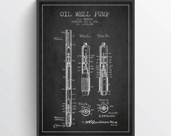 1912 Ölquelle Pumpe Patent Wand Kunst Poster, Öl-Bohr-Poster, Öl bohren Kunstdruck/Poster, Texas Kunst, Inneneinrichtungen, Geschenkidee, PFEN23P