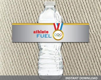 Water Bottle Labels - Go For the Gold-Olympic-Red White Blue - Medal - Summer -Games - Birthday - Instant Download - DIY Digital Decorations