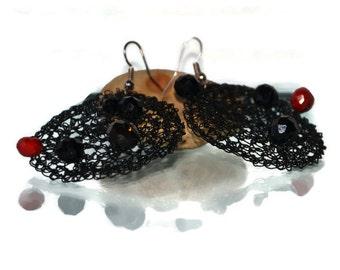 black  earrings, dangle earrings, round earrings, large earrings, wire crochet jewelry, unique jewelry, gift for her
