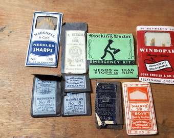 Vintage Sewing Needles Stocking Repair Kit, J F Milward and Sons, T Hemming and Sons, The Boye Needle Company Free US Shipping
