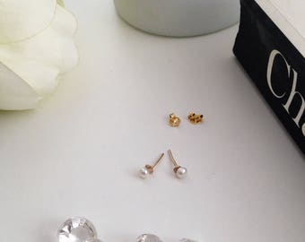 Pearl earrings. Pearl stud. Pearl Studs on Solid Gold. Pearl Stud Earrings. Simple pearl earring. Minimal earrings. Classic pearls. Gift