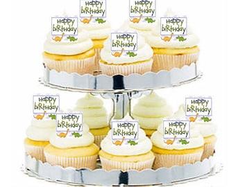 12pk Dinosaur Happy Birthday Cupcake  Decoration Toppers Picks