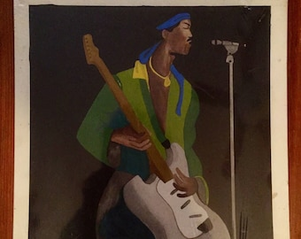 Vintage 80s Original Watercolor painting of Jimi Hendrix Playing his guitar signed on back African American Outsider Art