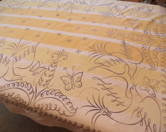 Yellow Carl Tait bird tablecloth / As Is vintage modern table cover / designer / butterfly dove