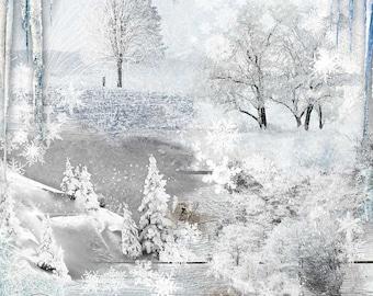 Winter Digital Overlays, Scrapbooking Overlays, Snow White Overlays, Winter Overlays, Snow Tree Overlay, Winter Backdrops