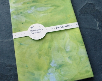 Grey Green Watercolour Effect Fat Quarter - Hand Dyed Fabric, Seal Stone Moss Pear Grass Key Lime Pie Gooseberry Green Quilting Cotton, 3333