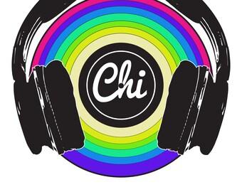 "Chicago Rainbow Headphones  11x14"" Pride Rock Music Wall Art Digital"