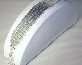 Woven Bracelet - Opaque Silver Metallic Beads