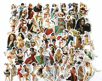 Retro Pinup Pin-up girls models Sticker-bombing Pack Decals Vinyl Stickers 1940s 1950s 1960s SHIPS FROM US