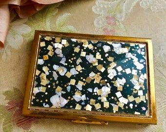 Vintage 50s ZELL Fifth Avenue Compact Case Confetti Lucite