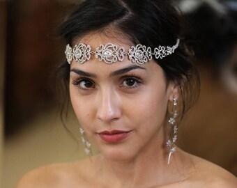 Silver Rhinestone Headband, Bridal Headband, Bridal Crown, Headpiece, Headband, Wedding Tiara, Crystal Headband, Bridal Headpiece #Georgia