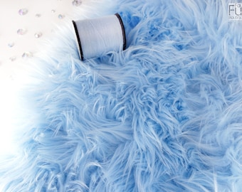 "Baby blue faux fur 2"" pile, blue fur craft squares, blue fursuit fur, baby blue cosplay fur, long pile faux fur, shag fur, baby blue fur"