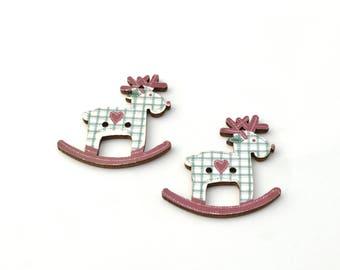 Set of 2 wooden reindeer Christmas buttons