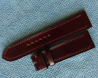 Custom made Shell cordovan leather Watch Strap - Non-padded full-stitch Style