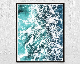 Wave Print, Wave Art, Ocean Print, Sea Art, Sea Print, Sea Wall Art Printable, Blue Ocean Wall Art, Surf Art Print,  Beach Coastal Decor
