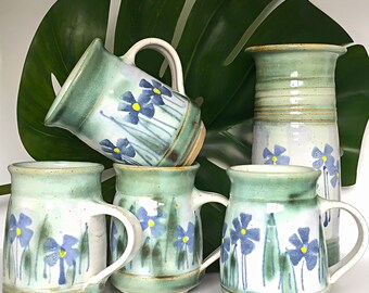 Set of 4 Vintage Ceramic Stoneware Pottery Coffee Mugs // Hand Painted Flower Tea Cups