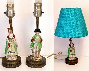 Porcelain Figural Lamps - Vintage Boudoir Bedroom Lighting Circa 30s - 40s