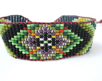 Huichol Inspired Beaded Flower Geometric Mandala Bracelet, Original Design 13, Green and Purple Center