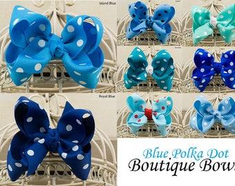 Blue Polka Dot Boutique Hair Bow, Blue Polka Dot Hair Bows, Blue Polka Dot Grosgrain Hair Bow