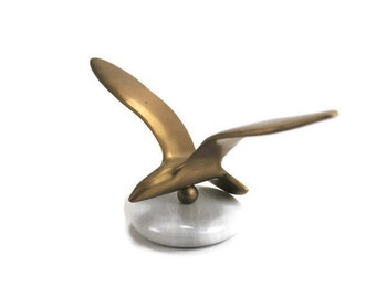 Brass Seagull Sculpture, Marble Paperweight, Office Decor, Desk Accessory, 1970's