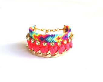 Statement Friendship Cuff. Pink Base.