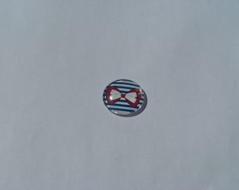 Glass cabochon round in 20 mm with image sailor blue and white stripes and red/white bow