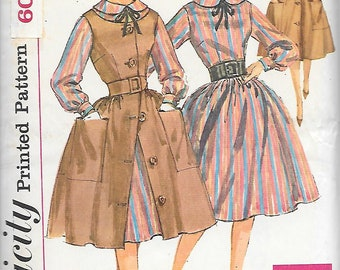 Size 12 UNCUT-Simplicity 3576 1960s Dress and Jumper with Full Skirt Vintage Sewing Pattern Bust 32 Simple to Make