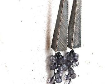 iolite earrings, oxidized silver cluster earrings