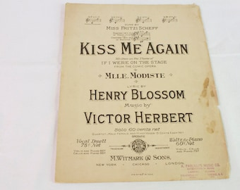 Antique 1905 Kiss Me Again Sheet Music