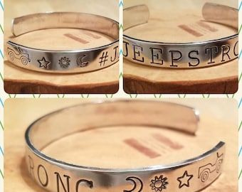 Hashtag Jeepstrong hand stamped and polished aluminum cuff bracelet adjustable size