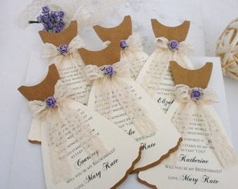 Will You Be My Bridesmaid Proposal Card Rustic Bridesmaid Invitation Rustic Chic Gown Card  Flower girl Gift  Card Maid of Honor Invite