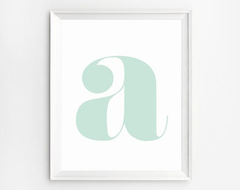 Initial wall Art, Mint Decor, Nursery Prints, Initial Print, Poster, Baby Room Decor, Minimalist Art Print, Wall Art, Children, Nursery Art
