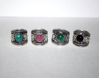 Turquoise ring, Quartz Ring, Black Onyx Ring,  Boho Ring, Silver Ring, Tribal Ring, Gypsy Ring, Adjustable ring, Turquoise Jewelry AR6