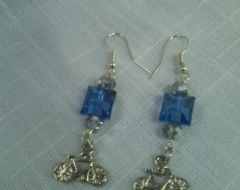 Bicycle Charm with Blue Cube and Crystal Bead Earrings
