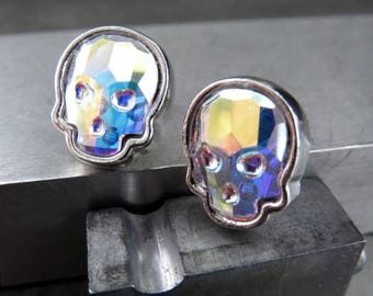Iridescent Crystal Skull Stud Earrings, Shimmer Swarovski Crystal AB in Silver Tone Bezels, Goth Gothic Halloween Jewelry, Unisex Post Studs