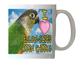 I Love Yellow-sided Green Cheek Conures Parakeet Parrot Blue Sky Clouds White 11oz Ceramic Coffee Mug