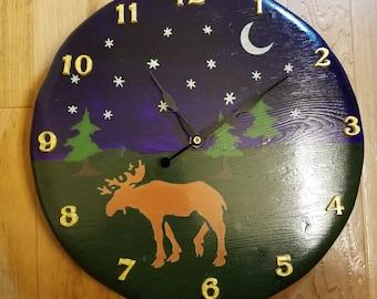 Wood Moose Clock, Handmade Wall Clock, Personalized hand painted rustic clock, LifeWood