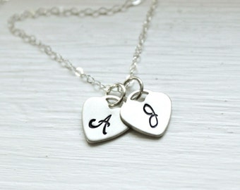 Personalized Necklace, Two Heart Initials Necklace, Mother's Necklace, Couples Necklace, Hand Stamped Necklac