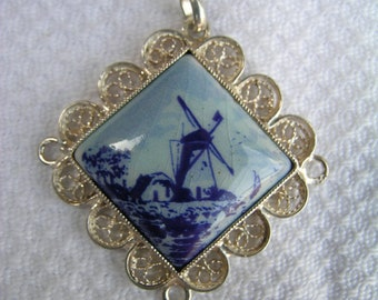 Vintage Delft pottery plaque windmill Dutch scene blue and white china diamond shaped pendant unmarked silver mount