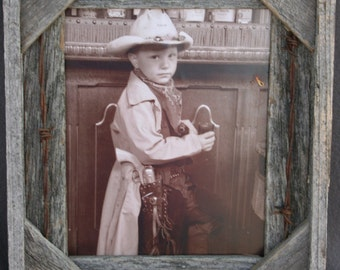 8x10 Barbed Wire Unfinished rustic barn wood reclaimed primitive barnwood photo picture frame 8 x 10 repurposed