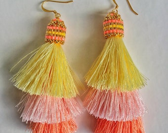Mother's day, Gift for mom, Three Layered Beaded Tassel Earrings, Tiered Tassel Earrings, Dangle Earrings, Statement Earrings, Gifts for her